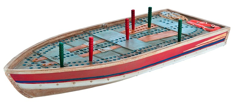Outside Inside Tin Boat Cribbage Board