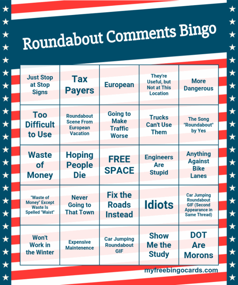 Roundabouts Commentary Bingo