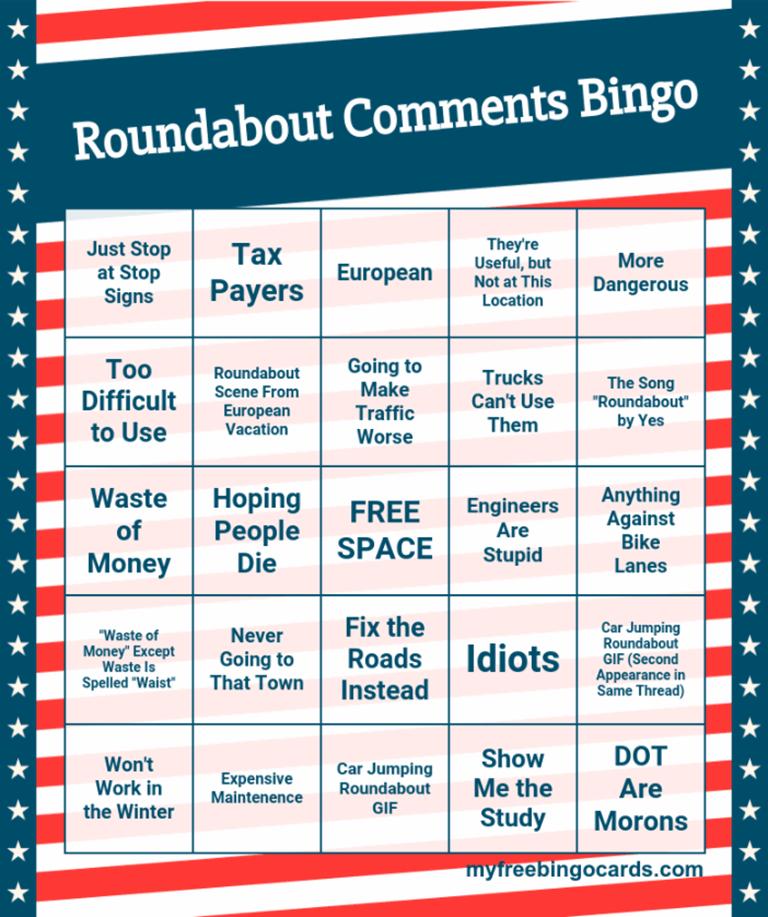 Roundabouts Commentary Bingo